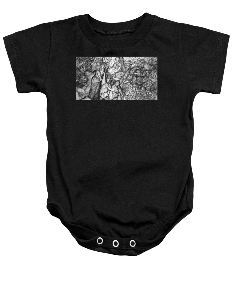 Graphite; Ethnic; Spiritual; Fragmented Art;drawing Baby Onesie featuring the drawing A Village by Arlene Rabinowitz