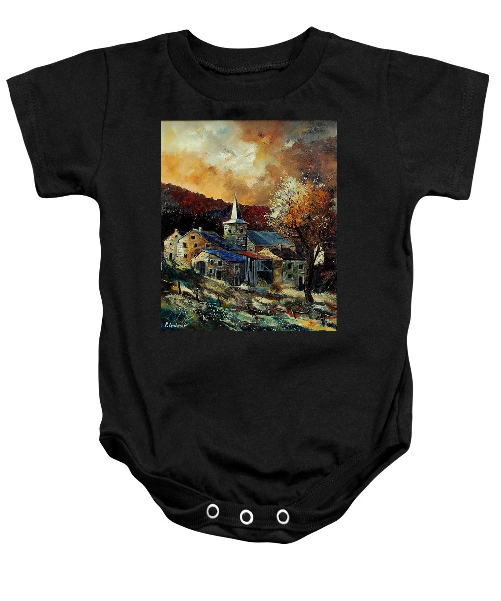 Tree Baby Onesie featuring the painting A Village In Autumn by Pol Ledent