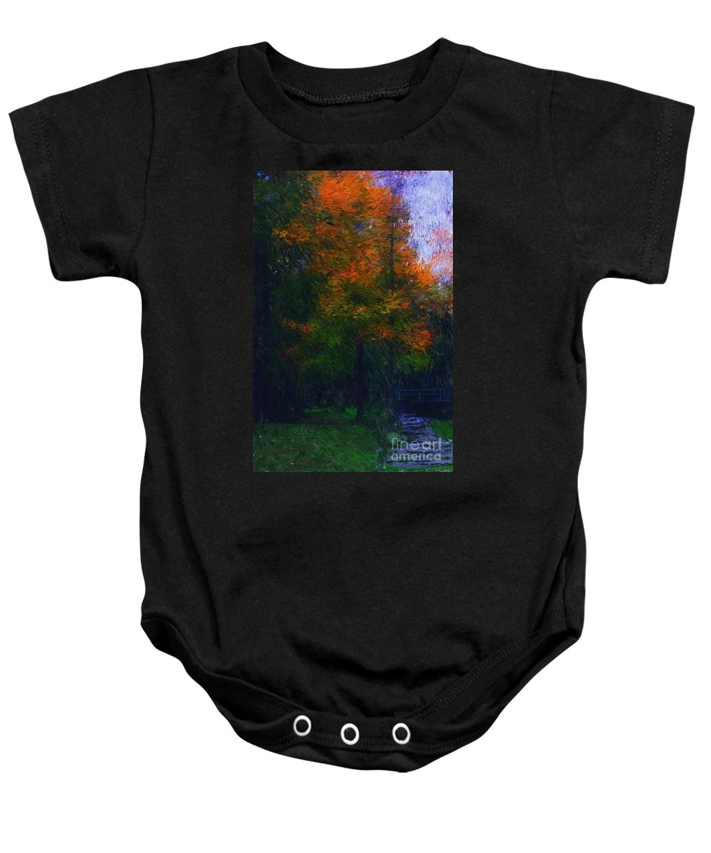 Autumn Baby Onesie featuring the photograph A Walk In The Park by David Lane