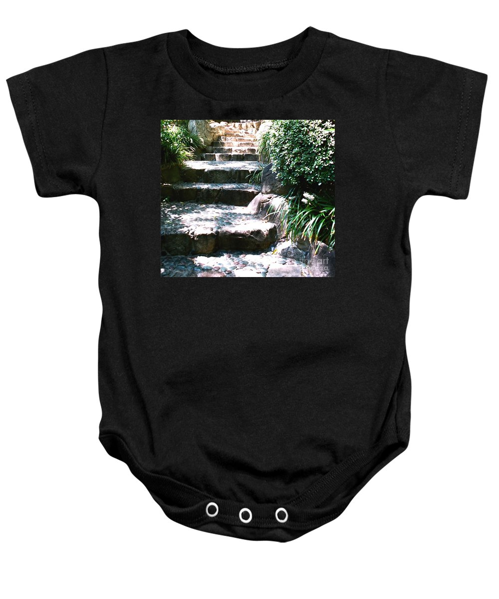 Stairs Baby Onesie featuring the photograph A Way Out by Dean Triolo