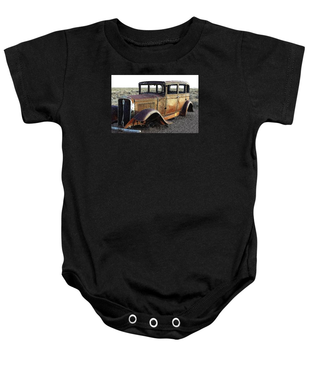 Arizona Baby Onesie featuring the photograph Abandonded Along Rt 66 by Nelson Strong