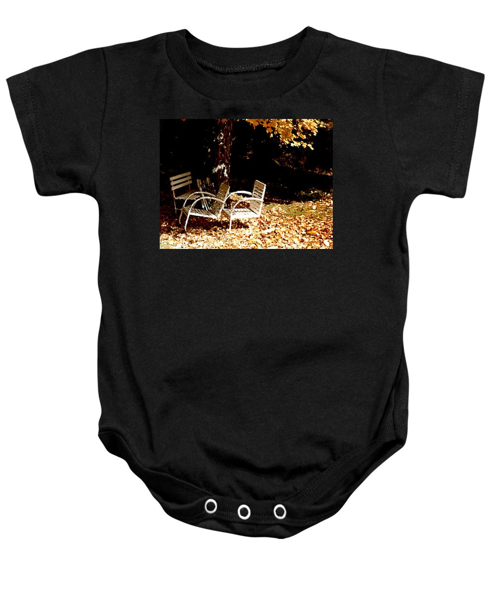 Landscape Baby Onesie featuring the painting Abandoned Chairs by Paul Sachtleben