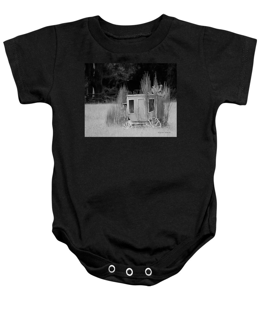 Carriage Baby Onesie featuring the digital art Abandoned In The Field Black And White by DigiArt Diaries by Vicky B Fuller