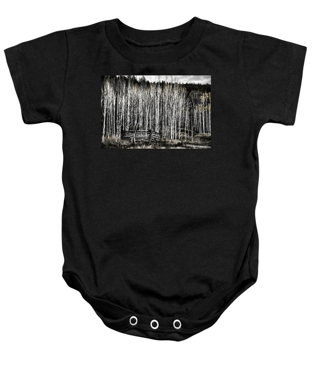 Log Baby Onesie featuring the photograph Abandoned Part 1 by Monte Arnold