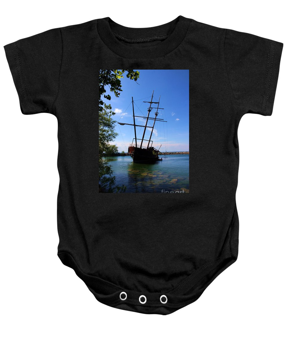 Boat Baby Onesie featuring the photograph Abandoned Ship by Al Bourassa