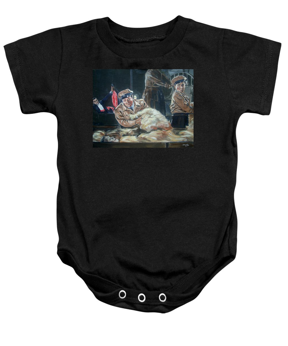 Comedy Baby Onesie featuring the painting Abbott And Costello Meet Frankenstein by Bryan Bustard