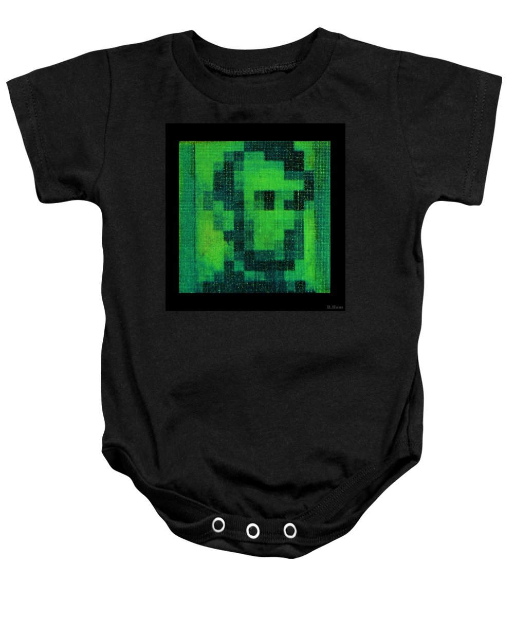 Green Baby Onesie featuring the photograph Abe In Green by Rob Hans