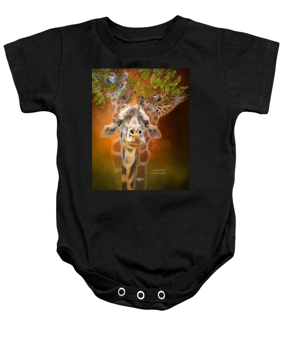 Giraffe Baby Onesie featuring the mixed media Above It All by Carol Cavalaris