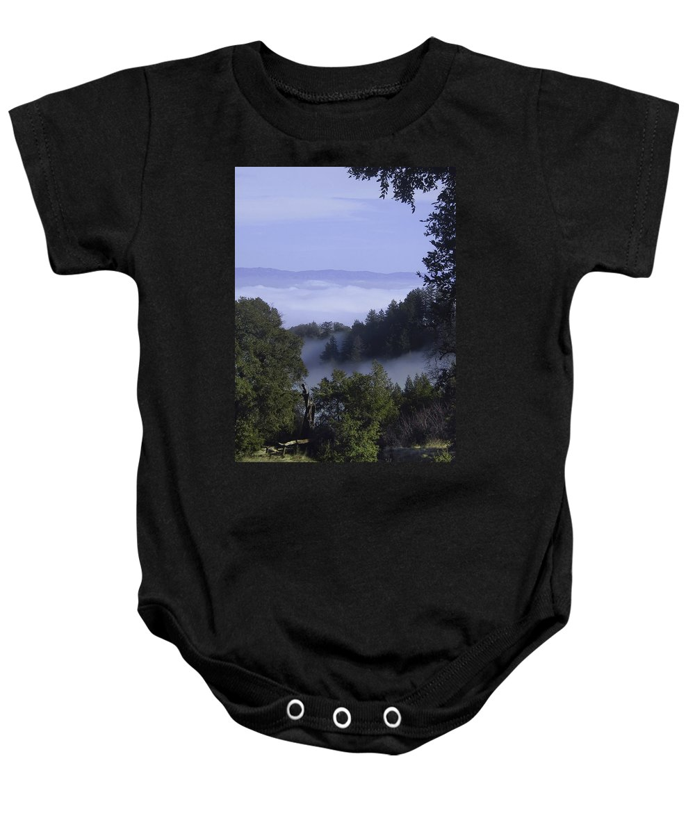 Lalndscape Baby Onesie featuring the photograph Above The Clouds by Karen W Meyer