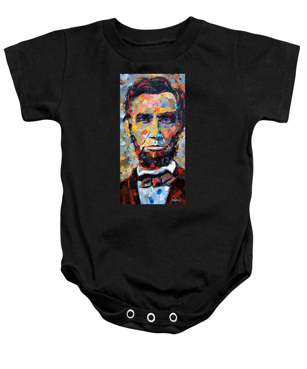 President Baby Onesie featuring the painting Abraham Lincoln Portrait by Debra Hurd