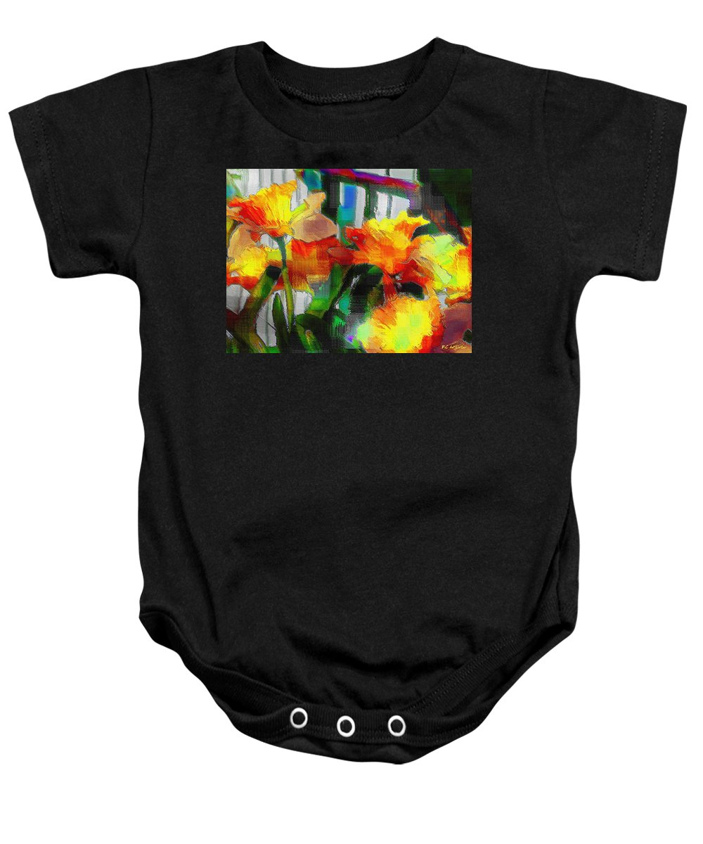 Absinthe Baby Onesie featuring the painting Absinthe Daffies by RC DeWinter