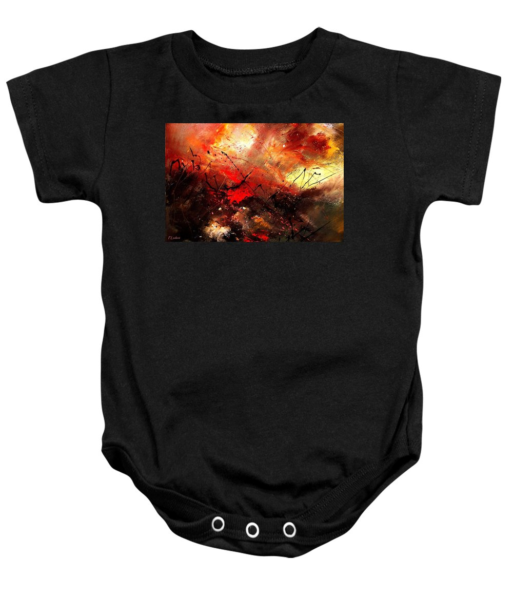 Abstract Baby Onesie featuring the painting Abstract 100202 by Pol Ledent
