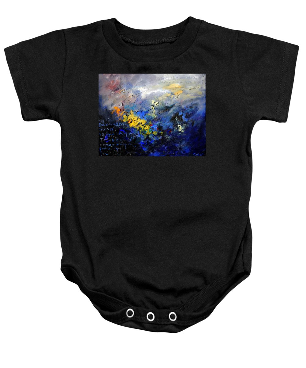 Abstract Baby Onesie featuring the painting Abstract 970208 by Pol Ledent