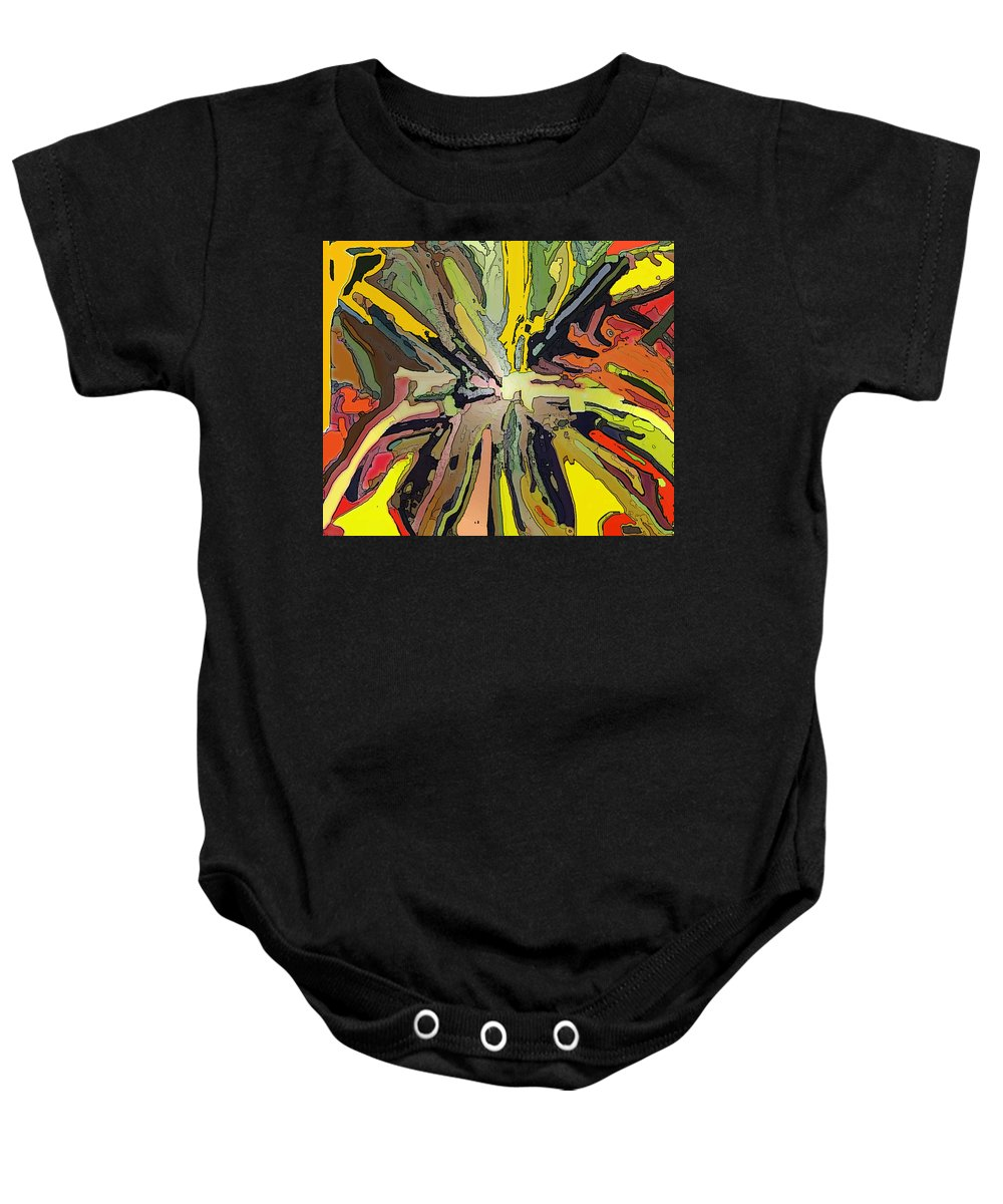 Abstract Baby Onesie featuring the digital art Abstract Garden Defined by Ian MacDonald