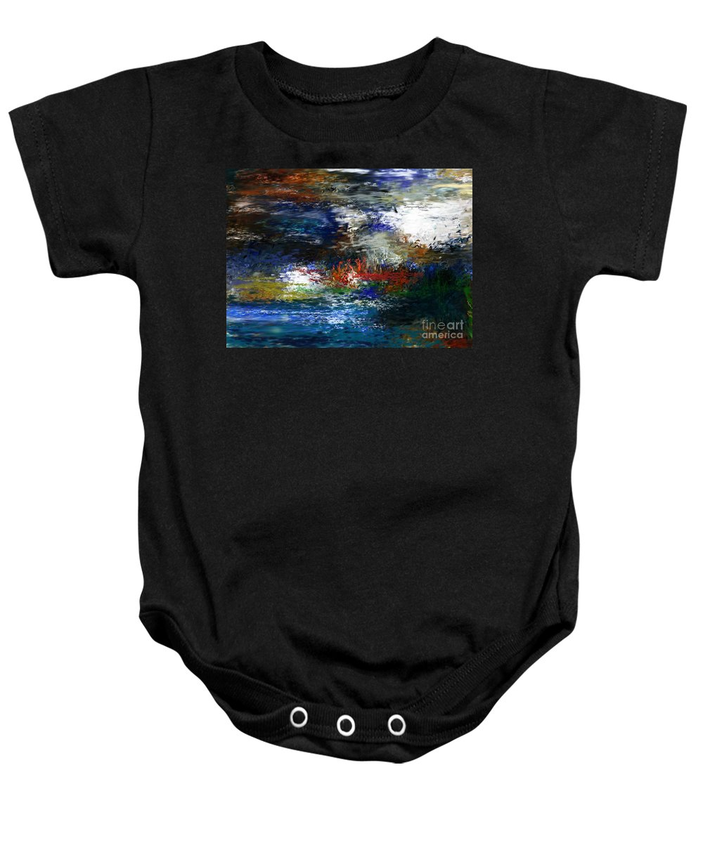 Abstract Baby Onesie featuring the digital art Abstract Impression 5-9-09 by David Lane