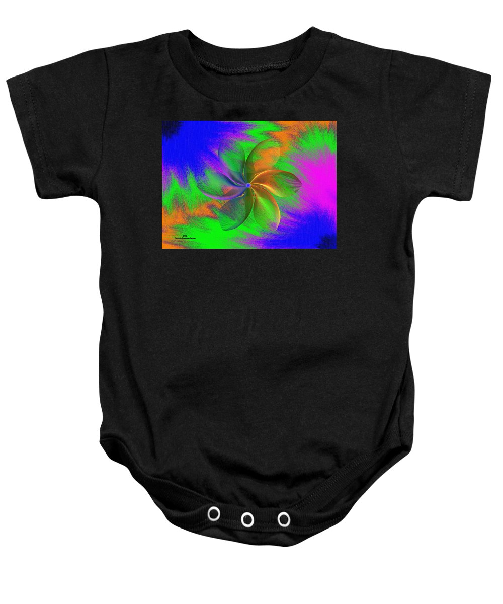 Abstract Baby Onesie featuring the digital art Abstract Pinwheel by Pamula Reeves-Barker