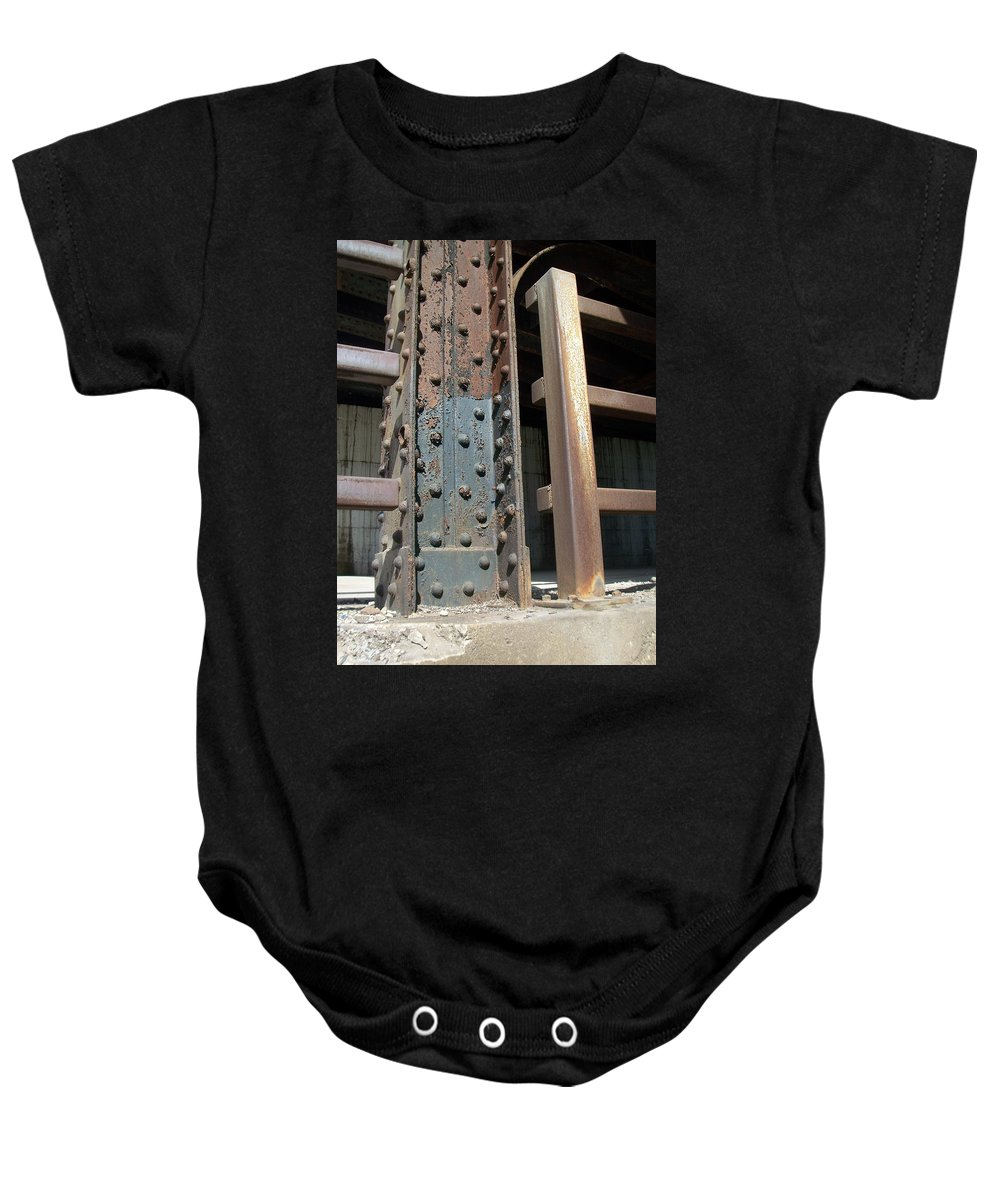 Urban Baby Onesie featuring the photograph Abstract Rust 1 by Anita Burgermeister