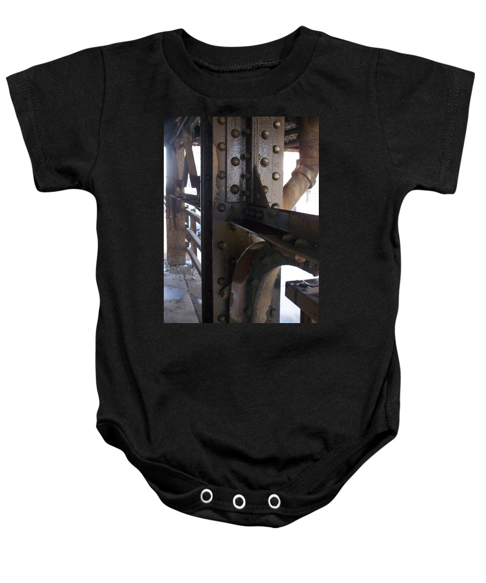 Industrial Baby Onesie featuring the photograph Abstract Rust 5 by Anita Burgermeister