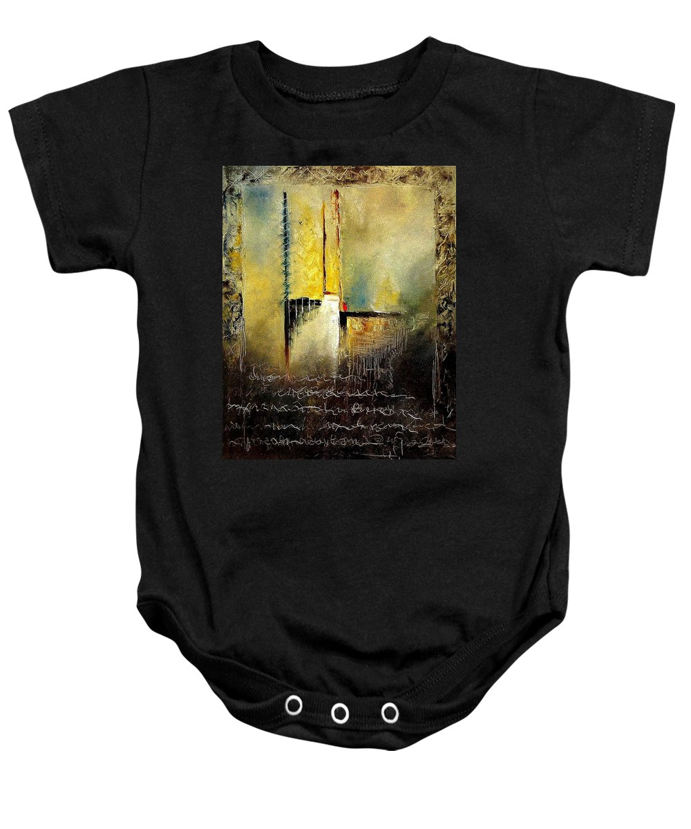 Abstract Baby Onesie featuring the painting Abstrct 3 by Pol Ledent