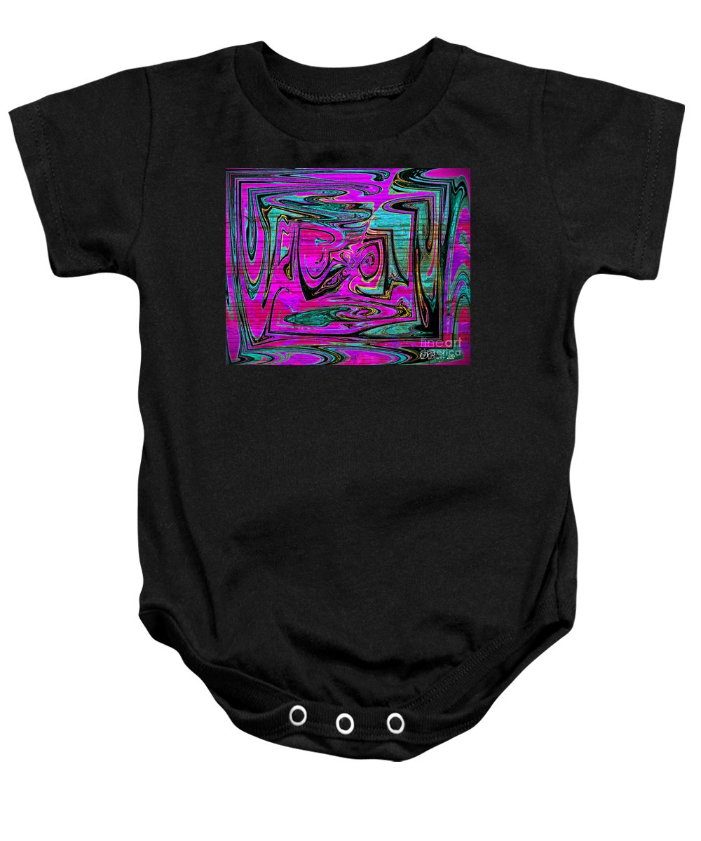 Abstract Art Baby Onesie featuring the digital art Ace In The Hole by Donna Bentley