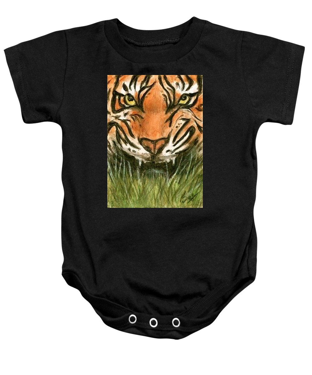 Tiger Animals Brucelennon Art Aceo Baby Onesie featuring the painting Aceo Tiger by Bruce Lennon