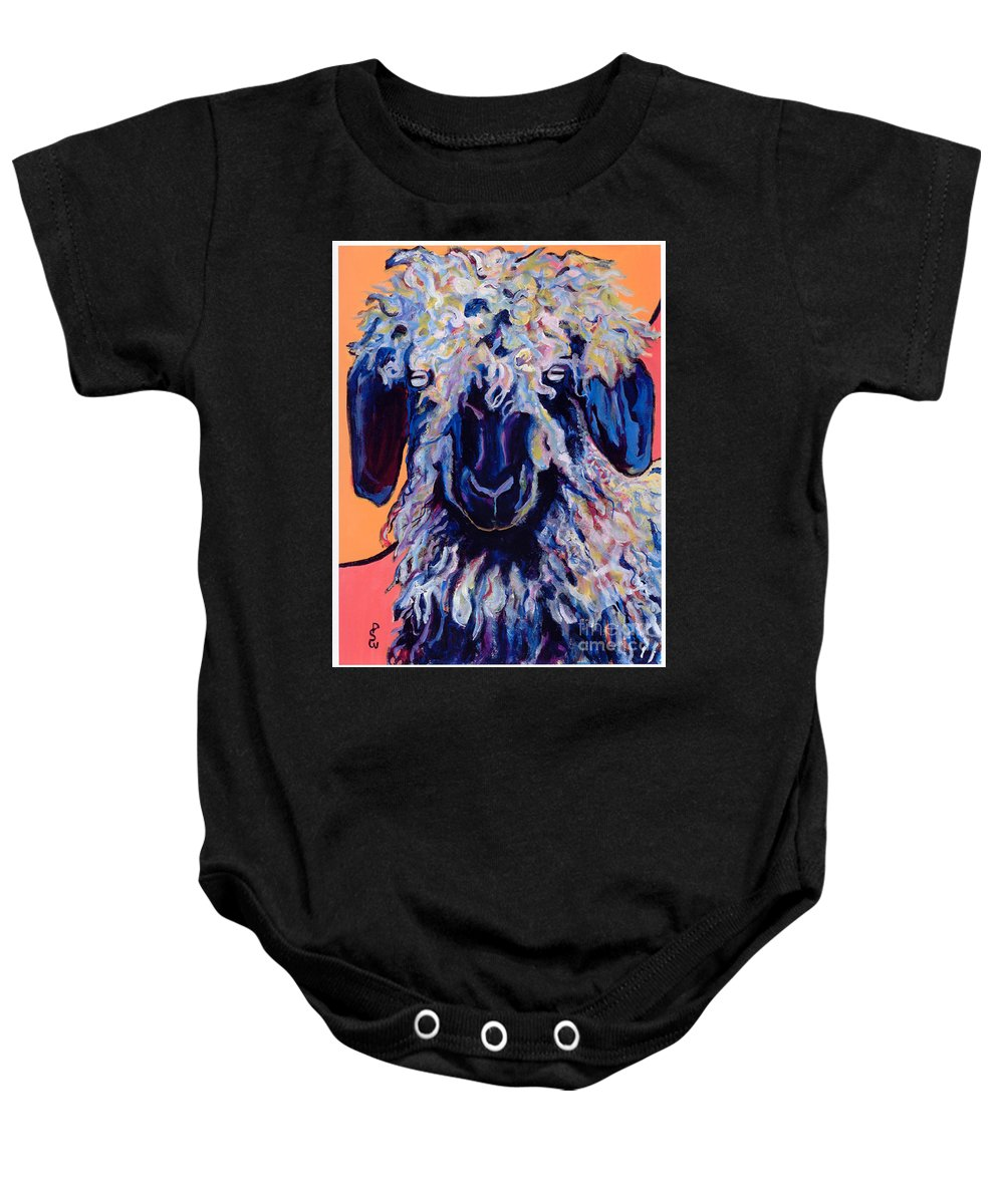 Goat Print Baby Onesie featuring the painting Adelita  by Pat Saunders-White