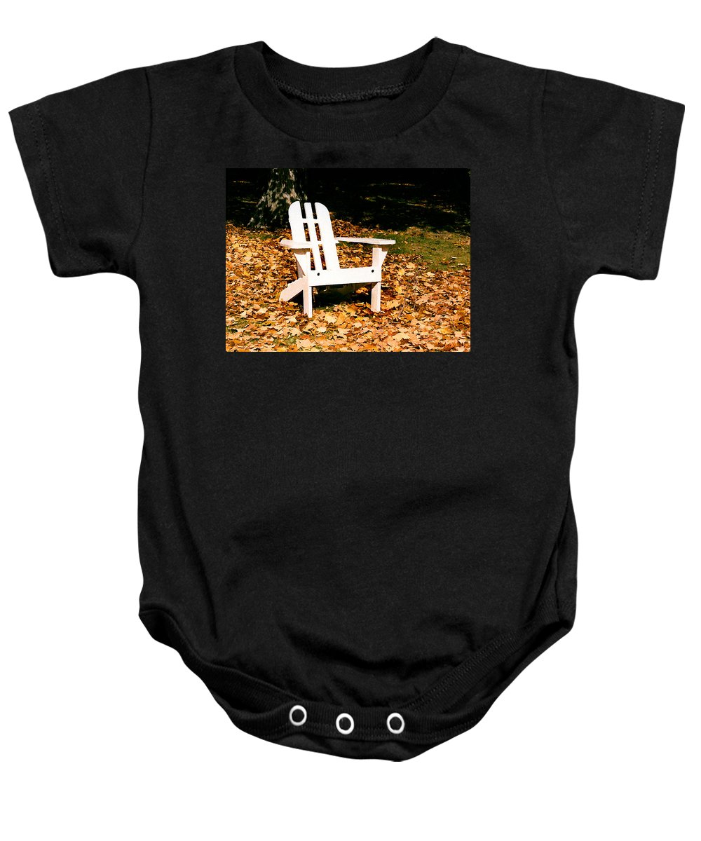 Autumn Baby Onesie featuring the painting Adirondack Chair by Paul Sachtleben
