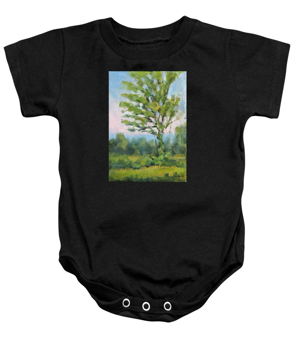 Adirondacks Baby Onesie featuring the painting Adirondack Tree by Robert James Hacunda