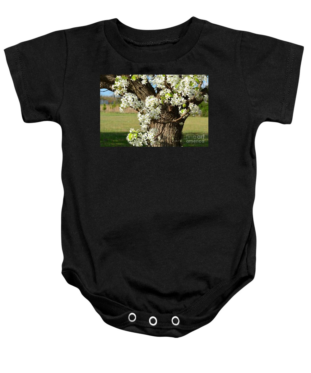 Adorned With Beauty Baby Onesie featuring the photograph Adorned With Beauty by Maria Urso