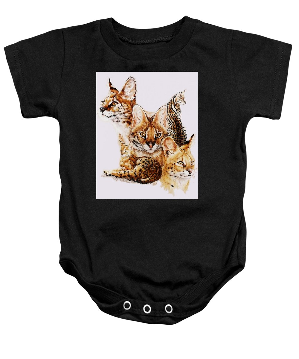 Serval Baby Onesie featuring the drawing Adroit by Barbara Keith