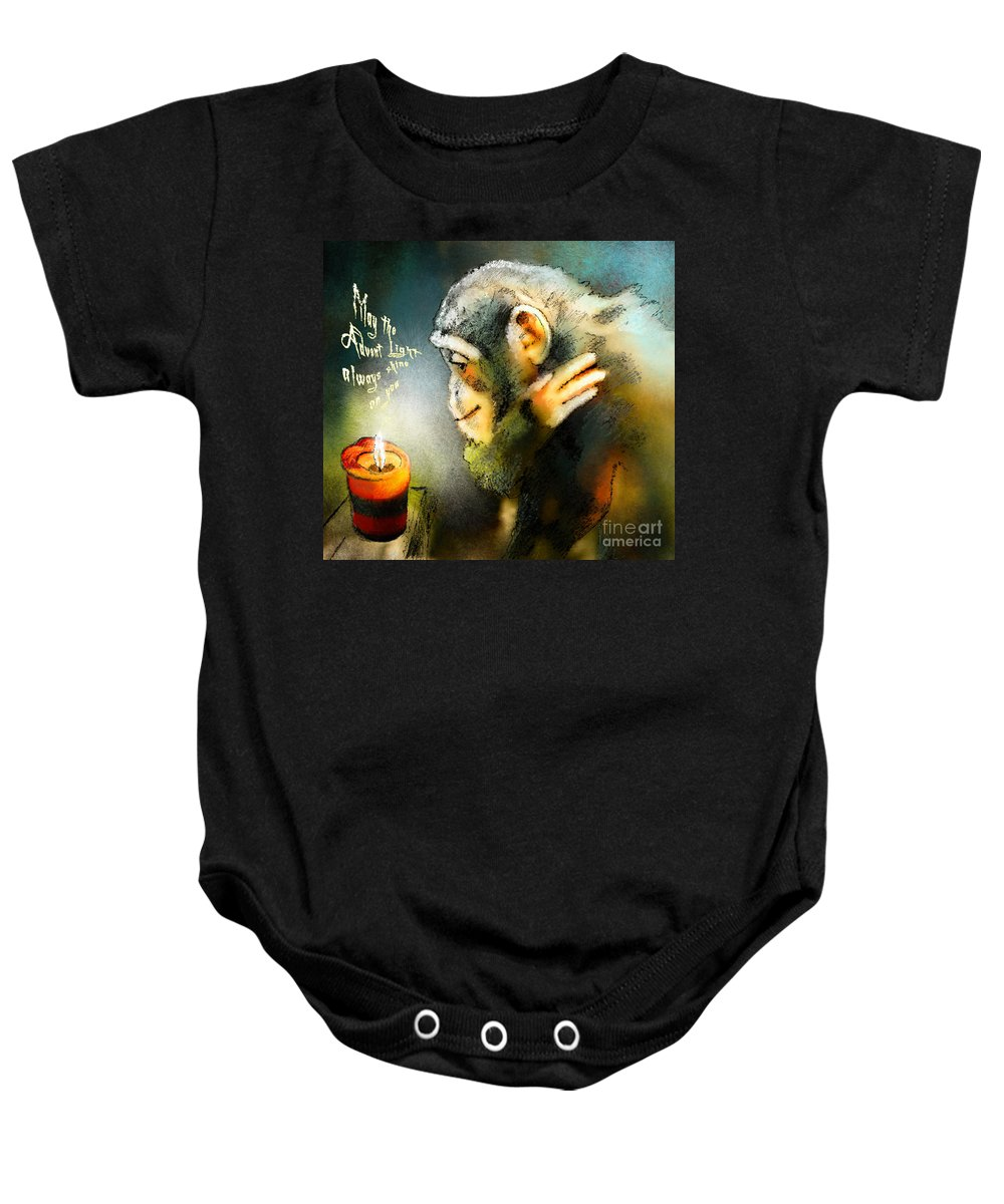 Advent Baby Onesie featuring the painting Advent Light by Miki De Goodaboom