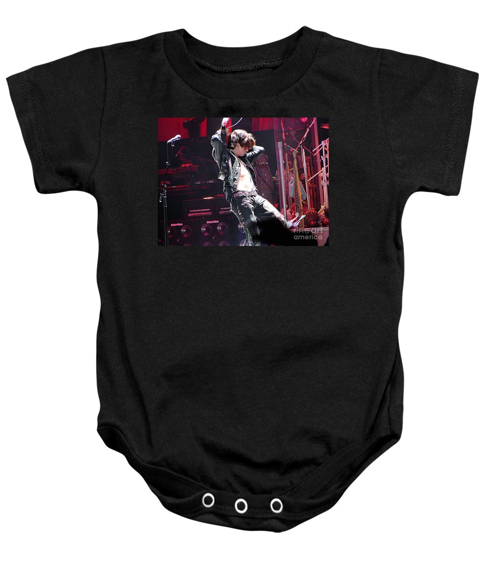Aerosmith Baby Onesie featuring the photograph Aerosmith-joe Perry-00053 by Gary Gingrich Galleries