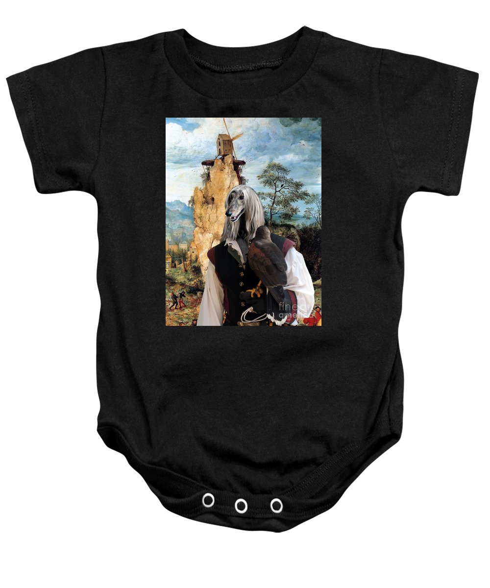 Afghan Hound Canvas Baby Onesie featuring the painting Afghan Hound-falconer And Windmill Canvas Fine Art Print by Sandra Sij