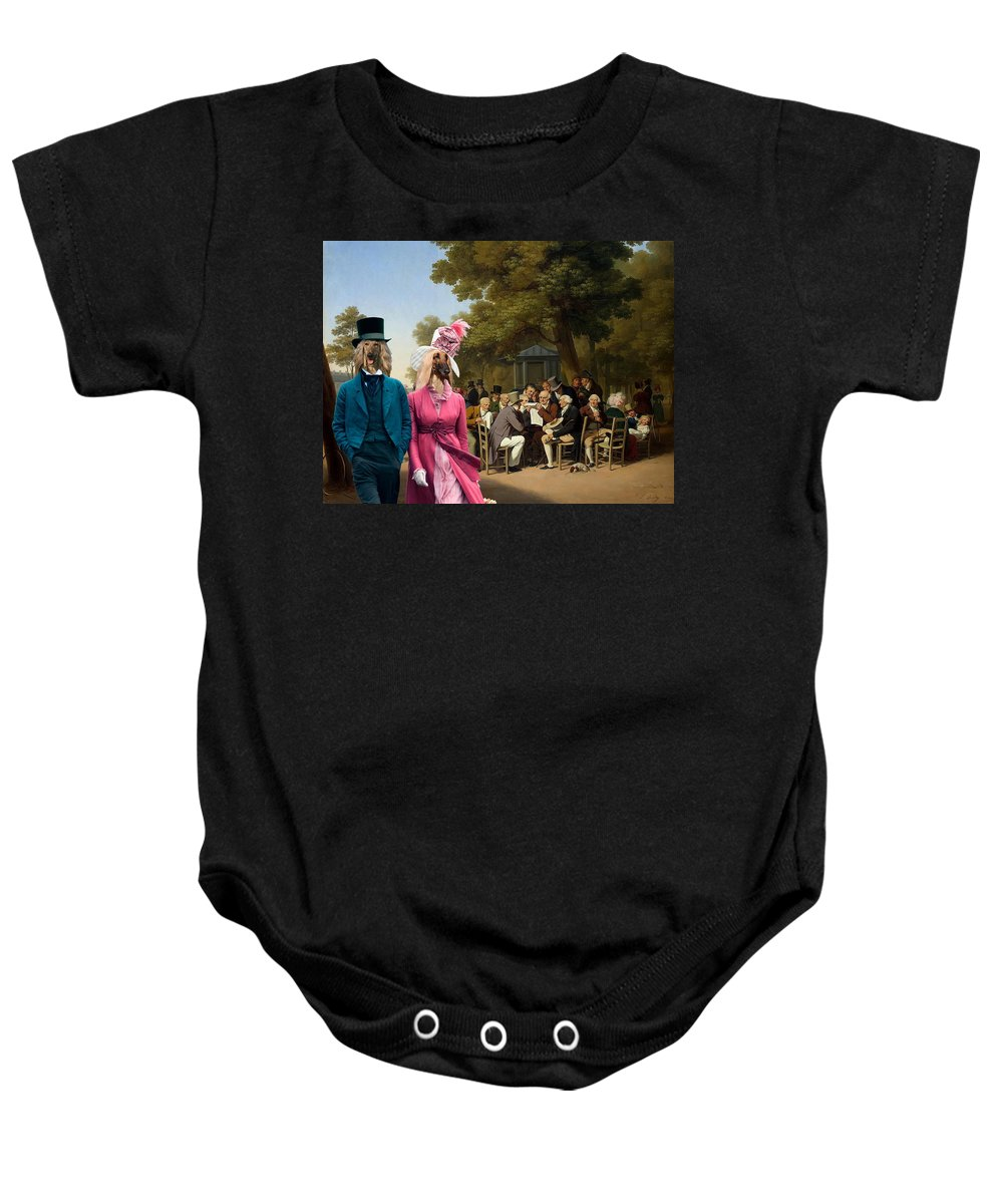 Afghan Hound Canvas Baby Onesie featuring the painting Afghan Hound-politicians In The Tuileries Gardens Canvas Fine Art Print by Sandra Sij