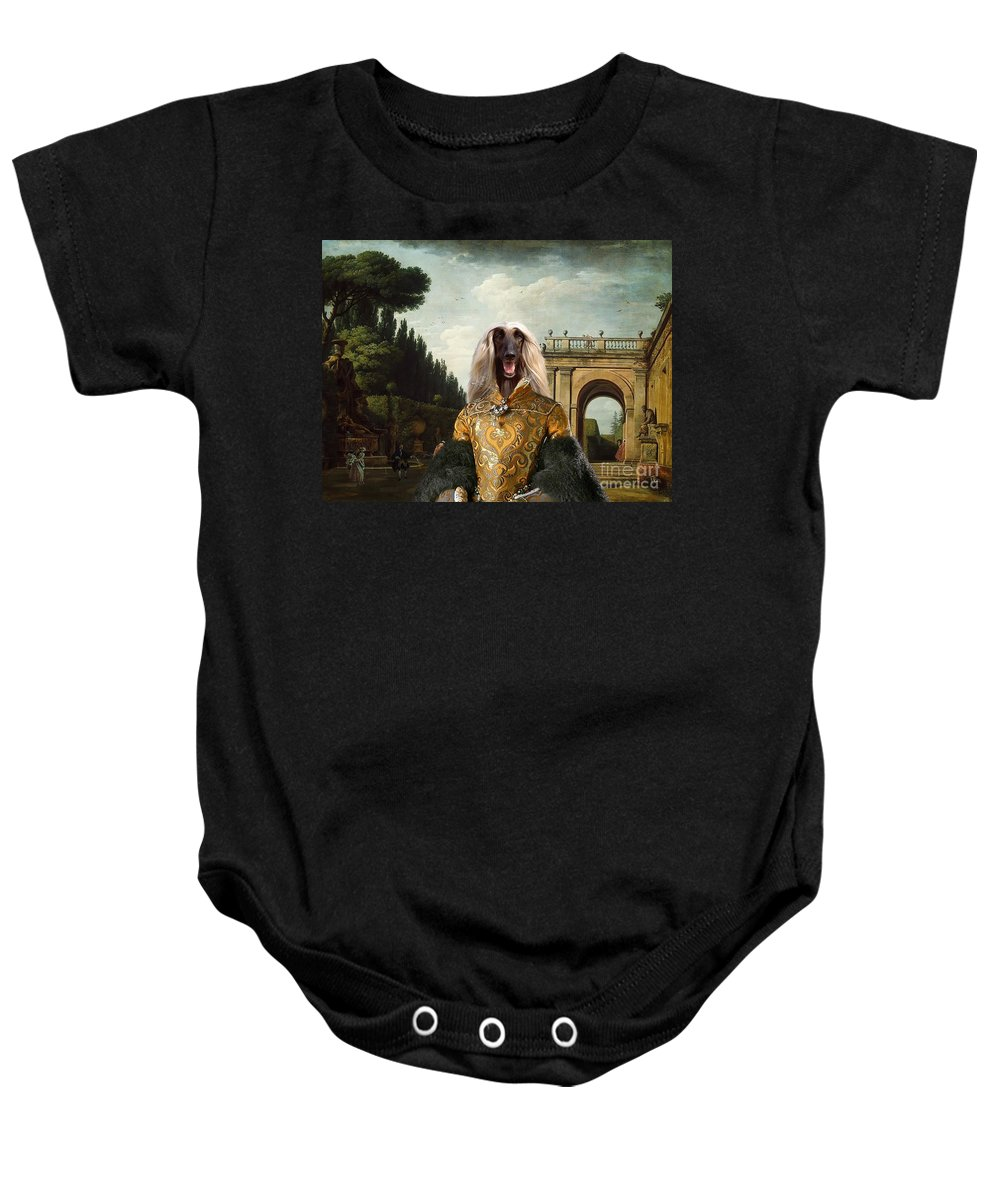 Afghan Hound Canvas Baby Onesie featuring the painting Afghan Hound-the Afternoon Promenade In Rome Canvas Fine Art Print by Sandra Sij