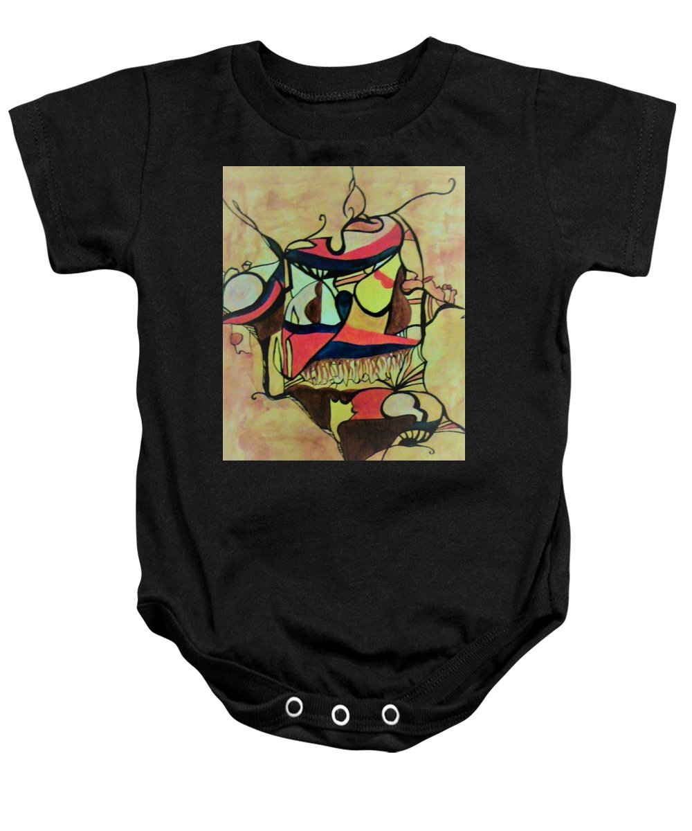 Baby Onesie featuring the painting African Soul by Imen Daggou