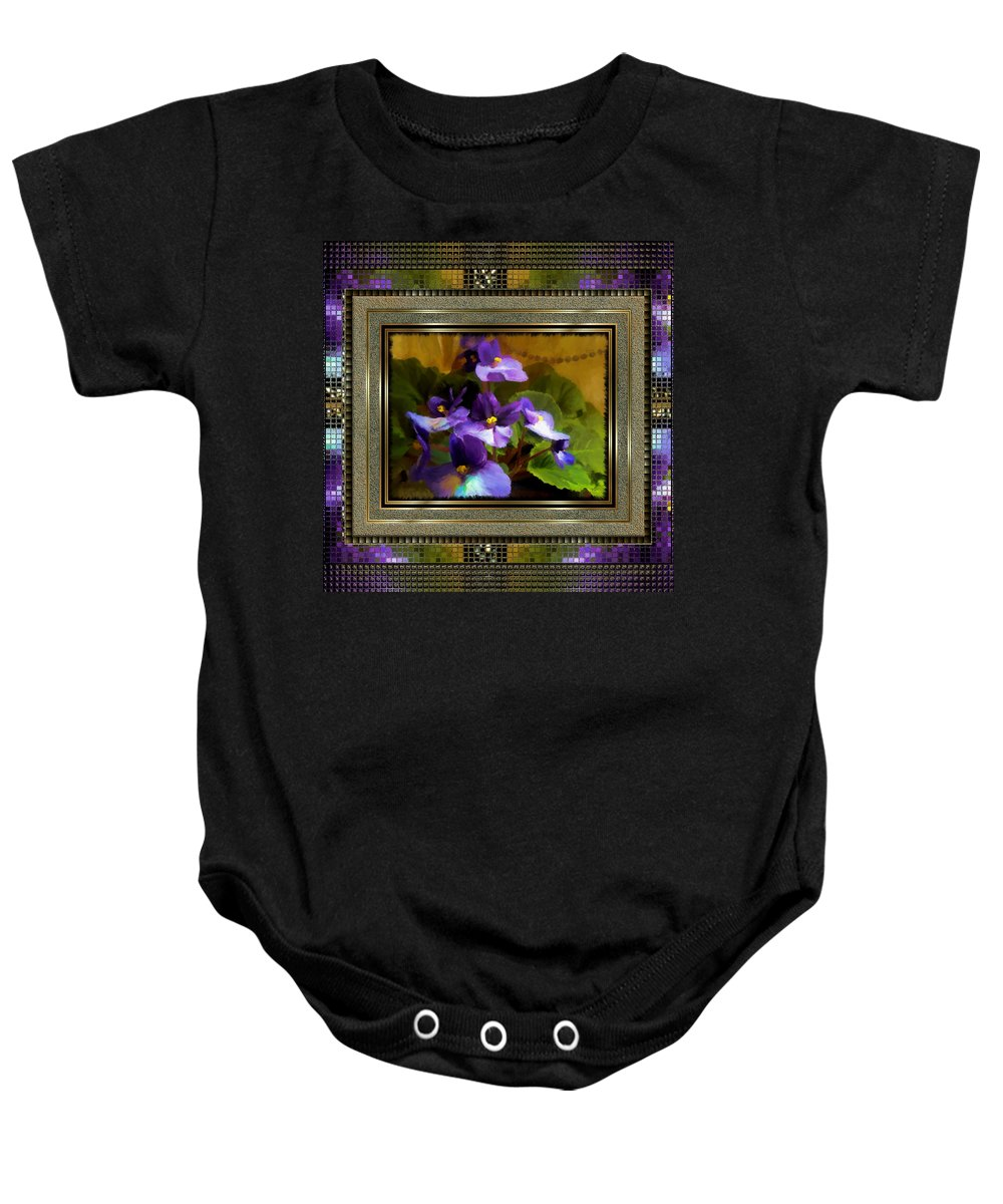 African Violet Baby Onesie featuring the painting African Violet by Susan Kinney