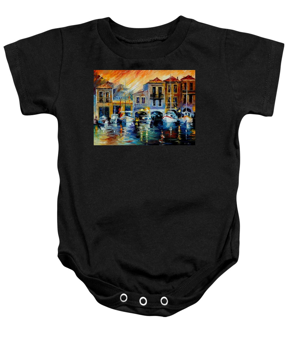 Afremov Baby Onesie featuring the painting After A Day's Work by Leonid Afremov