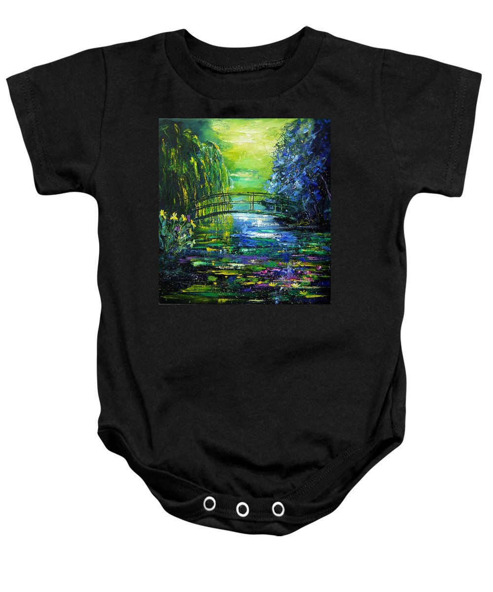 Pond Baby Onesie featuring the painting After Monet by Pol Ledent