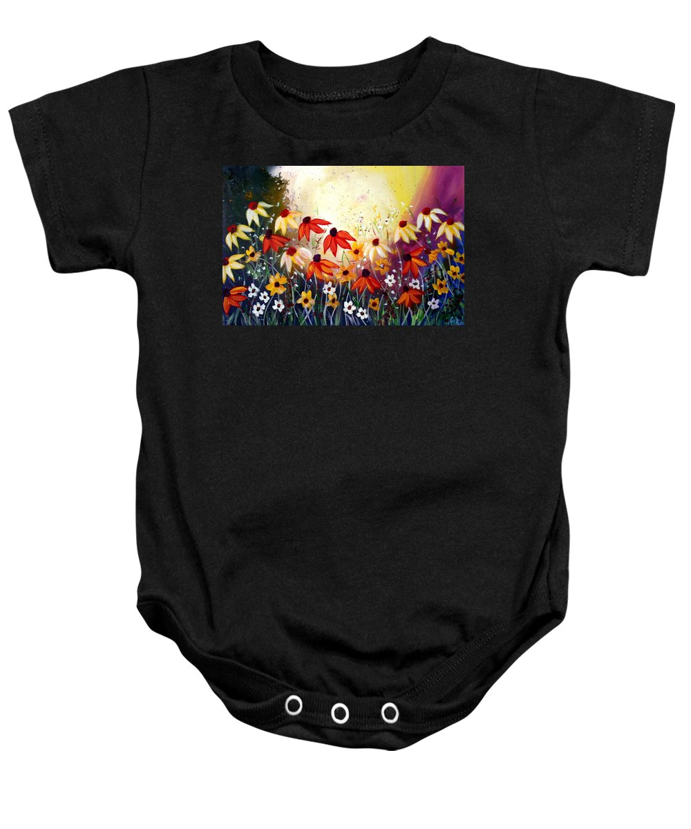 Flowers Baby Onesie featuring the painting After The Rain by Luiza Vizoli