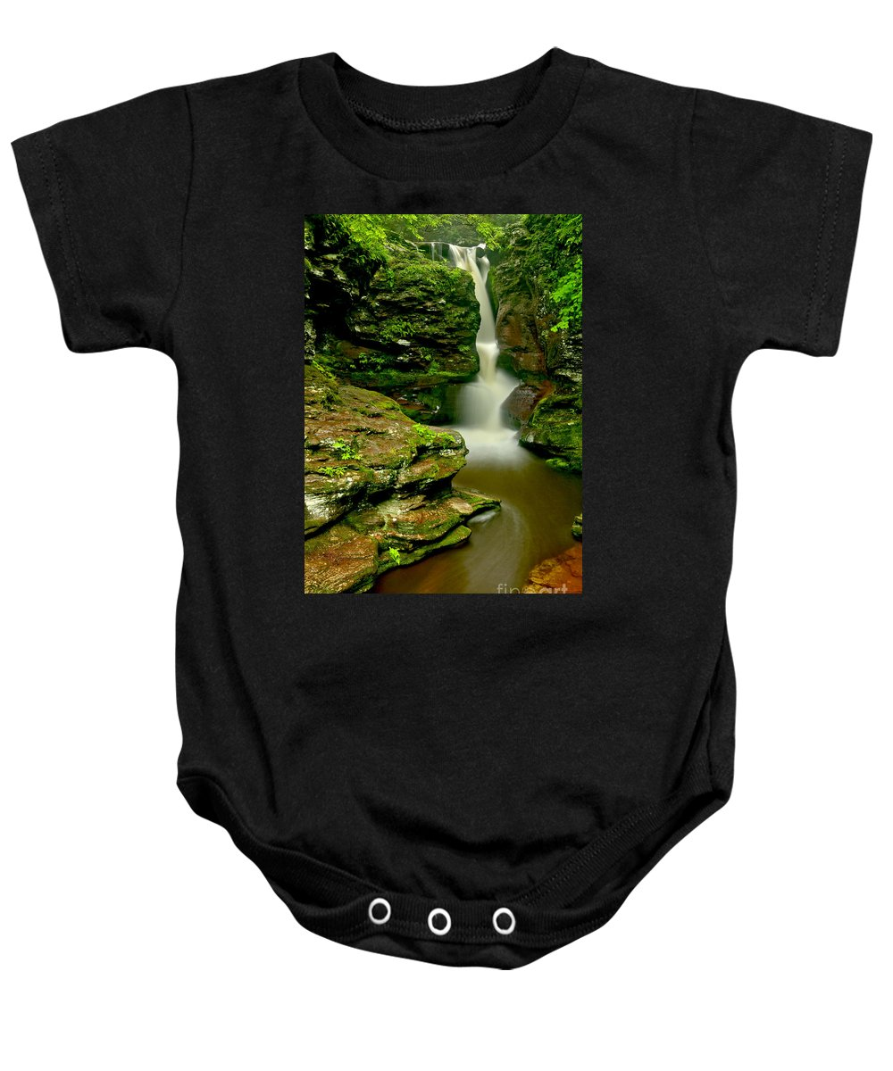 Adams Falls Baby Onesie featuring the photograph Afternoon At Adams Falls by Adam Jewell