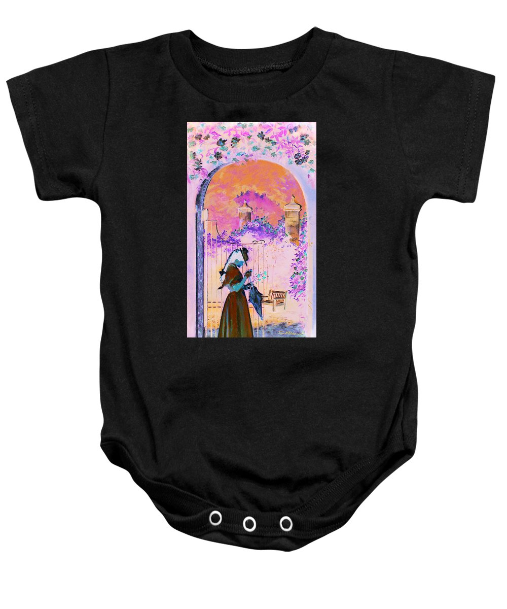 Rose Baby Onesie featuring the painting Afternoon Stroll by Jean Hildebrant