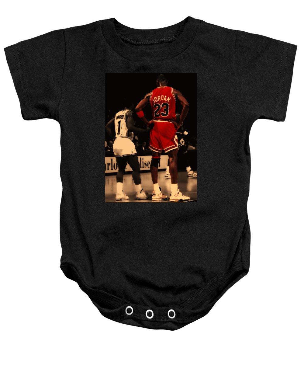 Michael Jordan Baby Onesie featuring the digital art Air Jordan And Muggsy  Bogues by Brian Reaves f2321902a