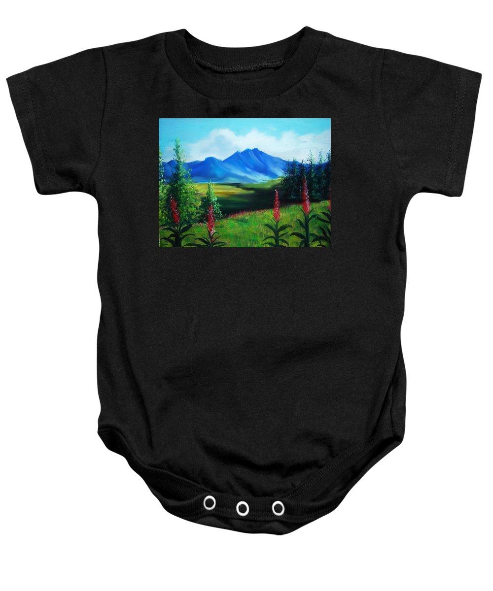 Alaska Baby Onesie featuring the pastel Alaska by Melinda Etzold