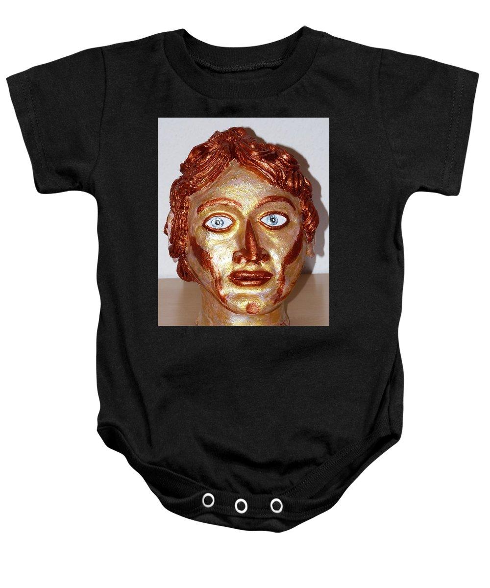 Alexander Baby Onesie featuring the sculpture Alexander The Great by Valerie Ornstein