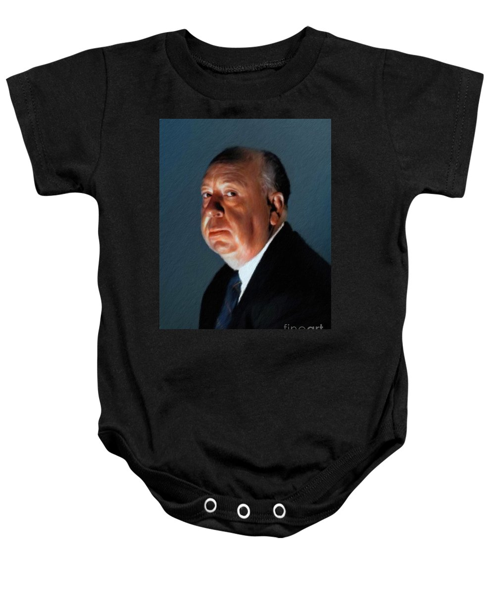 Alfred Baby Onesie featuring the painting Alfred Hitchcock by Mary Bassett