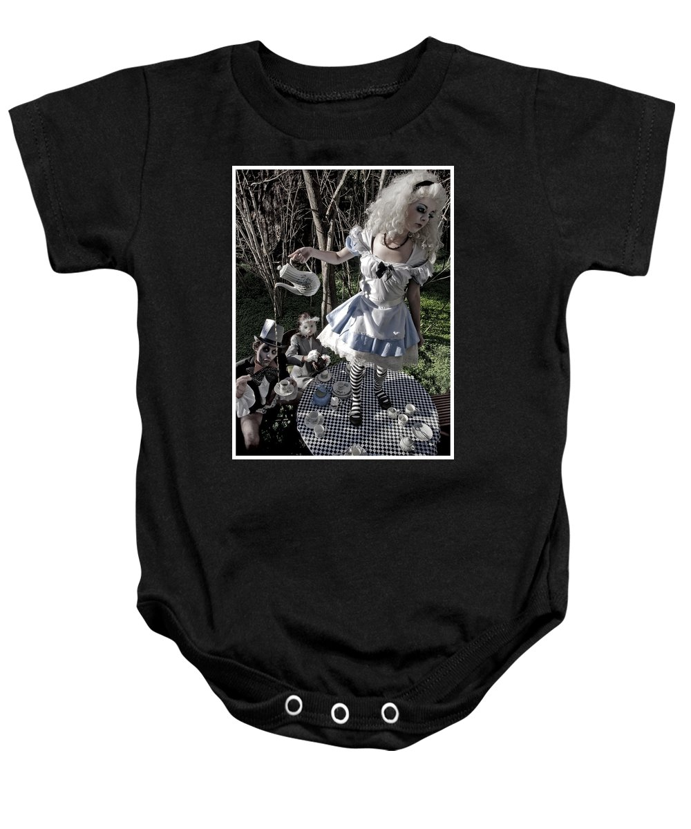 Alice In Wonderland Baby Onesie featuring the photograph Alice and Friends 1 by Kelly King