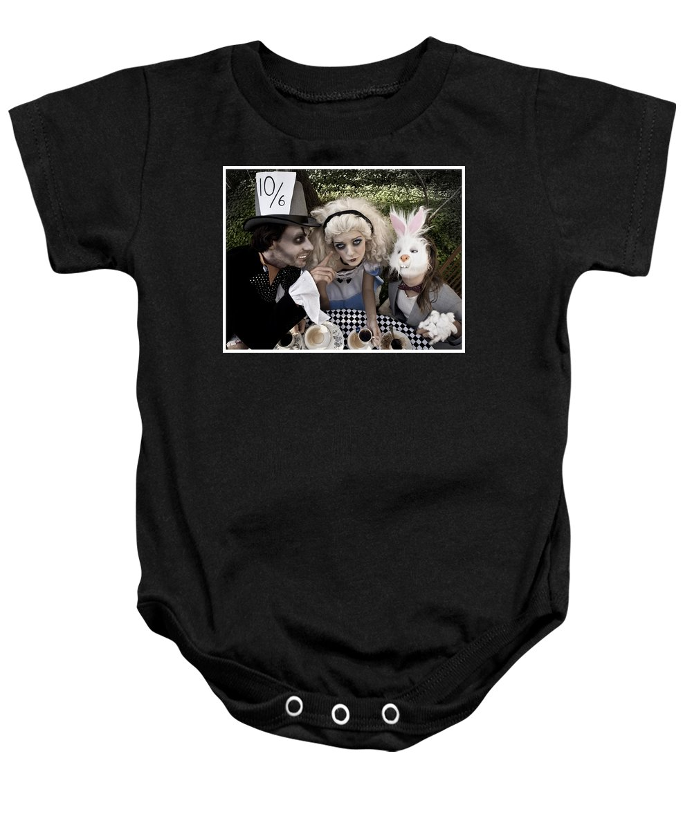 Alice In Wonderland Baby Onesie featuring the photograph Alice And Friends 2 by Kelly Jade King