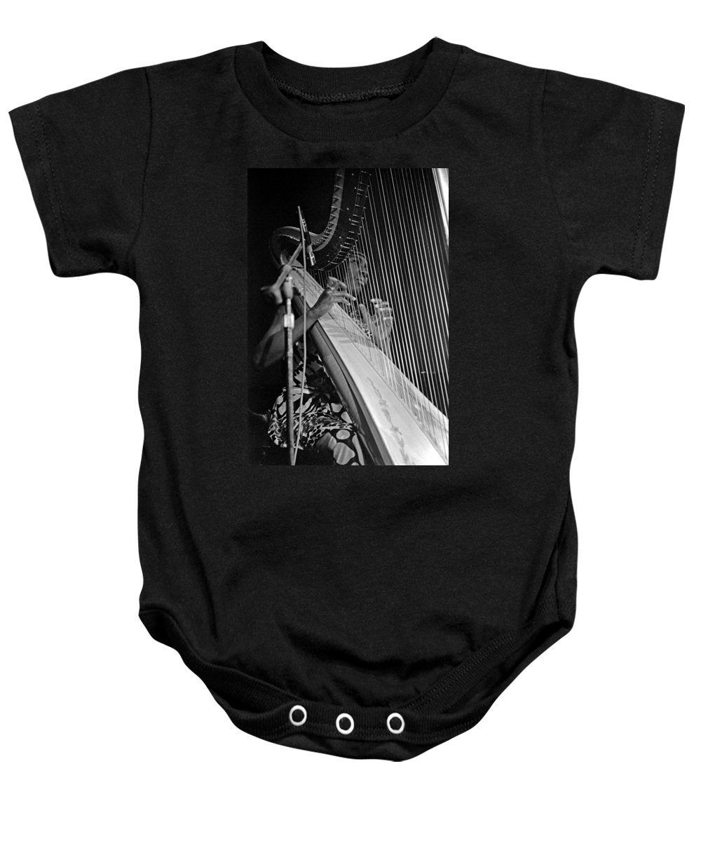 Coltrane Baby Onesie featuring the photograph Alice Coltrane On Harp by Lee Santa
