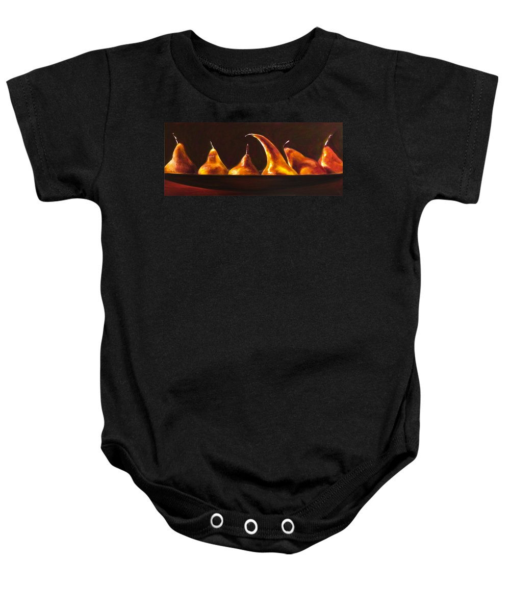 Pears Baby Onesie featuring the painting All Aboard by Shannon Grissom